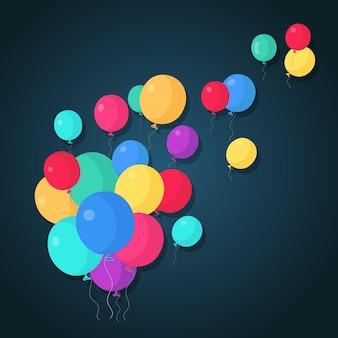 ヘリウム気球の束、空飛ぶ空気球。お誕生日おめでとう、休日。パーティーの装飾