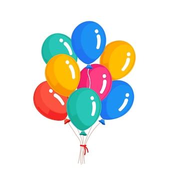 ヘリウム気球の束、空飛ぶ空気球