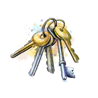 Связка ключей от всплеска акварели, рисованный эскиз. векторная иллюстрация красок
