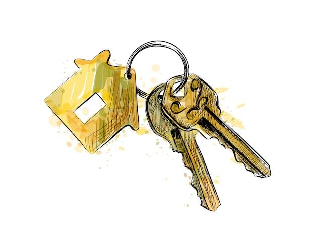 Связка ключей с брелком в форме дома из всплеска акварели, рисованный эскиз