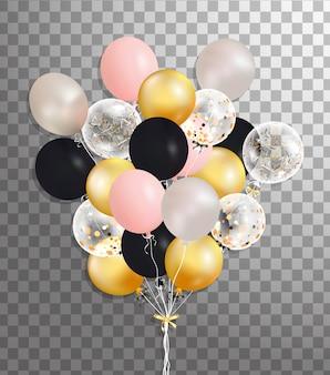 Букет из серебра, розовый, черный, золотой гелиевый шар, изолированных в воздухе. матовая партия воздушных шаров для мероприятия. партийные украшения на день рождения, юбилей, торжество. блеск прозрачный шар.