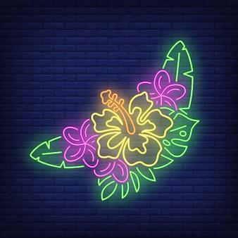 Букет из тропических цветов неоновая вывеска. розовые и желтые гибискусы с зелеными листьями.