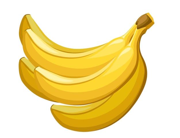 黄色いバナナの束食用トロピカルフルーツベリーフラットイラスト