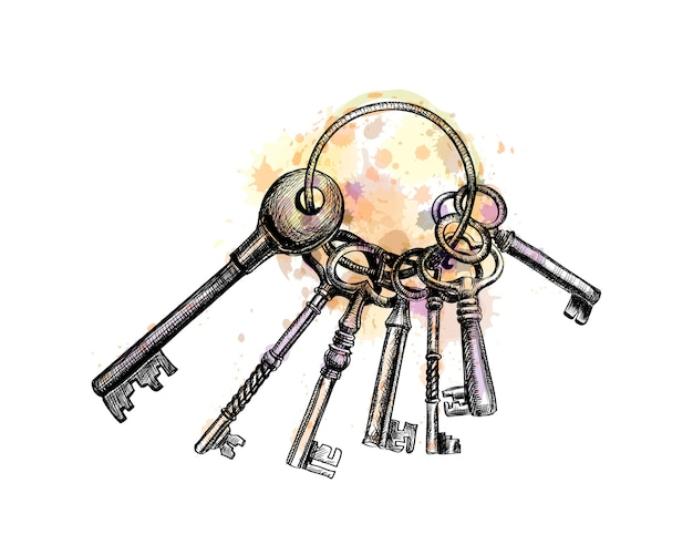 Bunch of old key from a splash of watercolor, hand drawn sketch.  illustration of paints