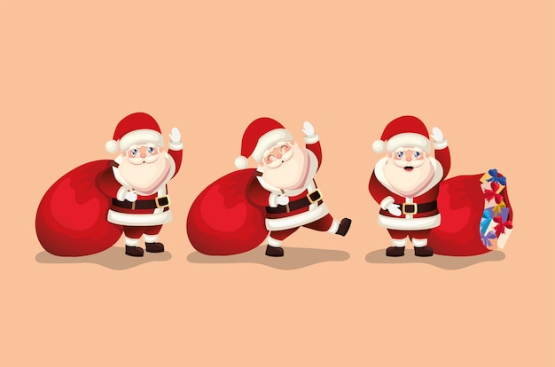 Bunch of santa claus   illustration