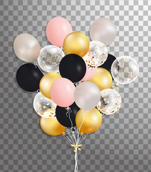 Bunch of silver, pink, black,gold helium balloon isolated in the air . frosted party balloons for event . party decorations for birthday, anniversary, celebration. shine transparent balloon.