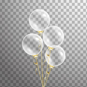 Bunch of transparent balloon on background. frosted party balloons for event design. balloons isolated in the air. party decorations for birthday, anniversary, celebration. shine transparent balloon.