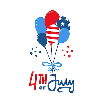 Bunch of usa balloons with american flag isolate on white background for american labor day. memorial day or independence day. hand drawn doodles flat illustration and lettering.