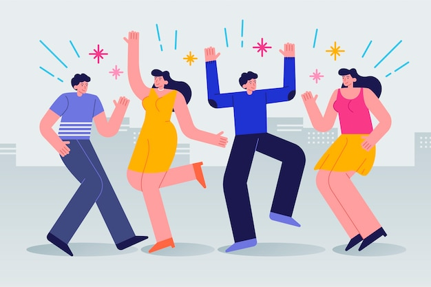 Bunch of young people celebrating together
