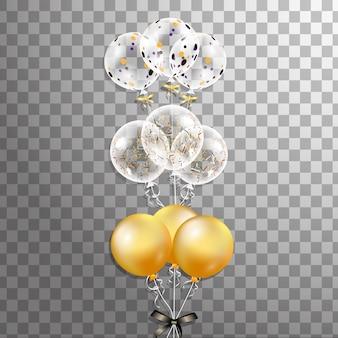 束と分離されたカラフルなヘリウム風船のグループ。イベントデザインのフロストパーティーバルーン。誕生日、記念日、お祝いのパーティーの装飾。