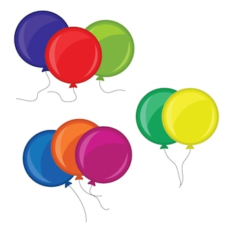 Bunches of several colour helium balloons. vector illustration.