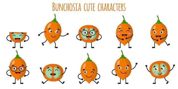 Bunchosia 과일 다른 포즈와 감정을 가진 귀여운 재미있는 쾌활한 캐릭터. 천연 비타민 항산화 해독 식품 수집. 만화 격리 된 그림입니다.