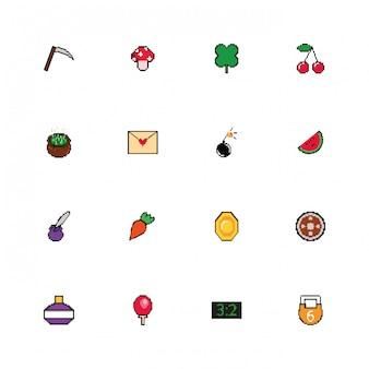 Bundle di icone di stile pixelate a 8 bit