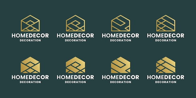 Bundle abstract home decoration logo design for decoration company. real estate, and architect