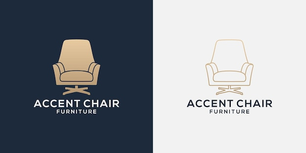 Bundle accent chairs logo design line and flat for your business property, interior, furniture