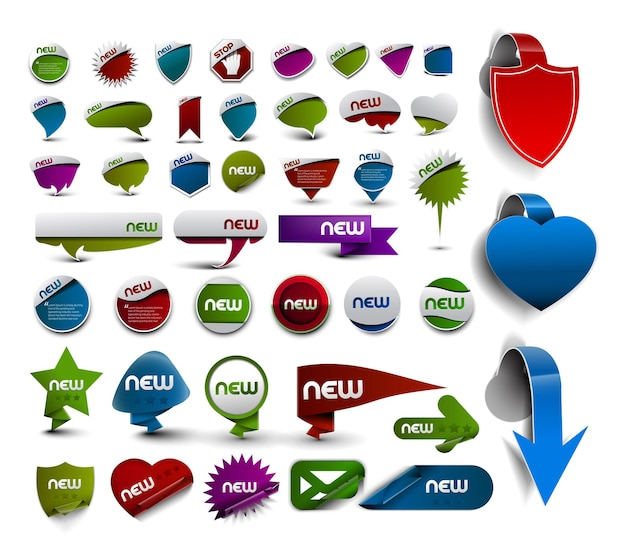 Bundle of advertisement labels stickers