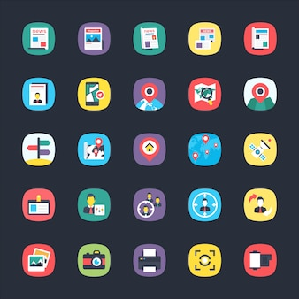 Bundle of app flat icons