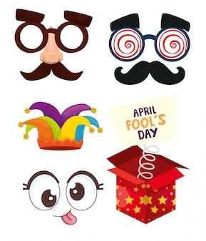 Bundle of april fools day set icons