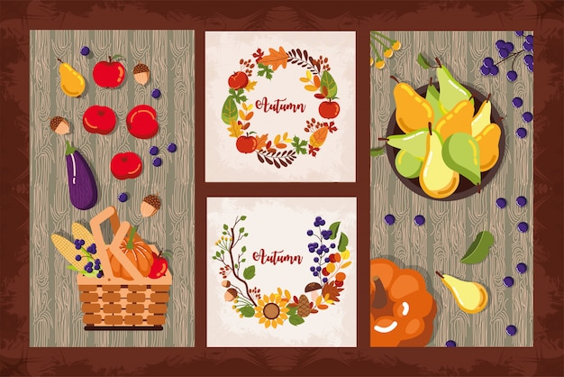 Bundle of autumn cards seasonal