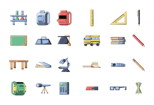 Bundle back to school with set icons