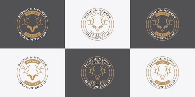 Bundle badge deer hunter logo design retro style