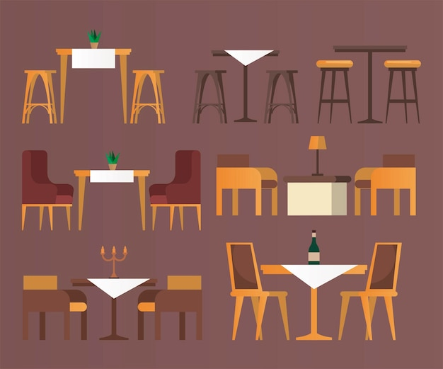 Bundle of bar and restaurant forniture set icons