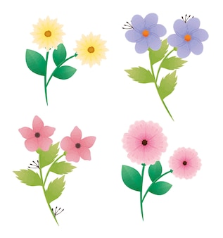 Bundle of beautiful flowers and leafs decorative icons design