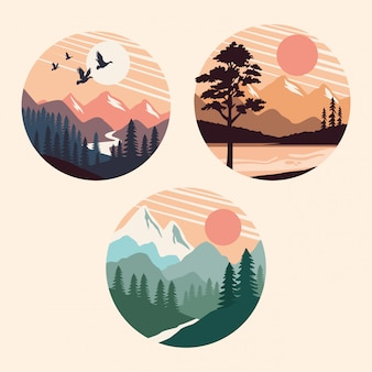 Bundle of beautiful landscapes set scenes