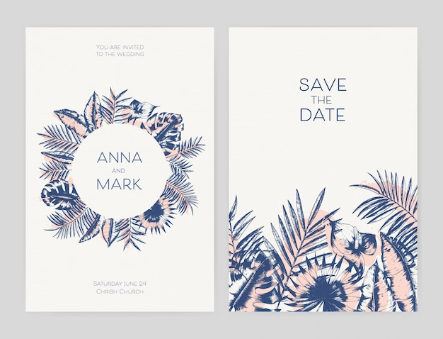Bundle of beautiful templates for save the date card and exotic wedding party invitation decorated with foliage of tropical jungle plants hand drawn with contour lines. summer   illustration.