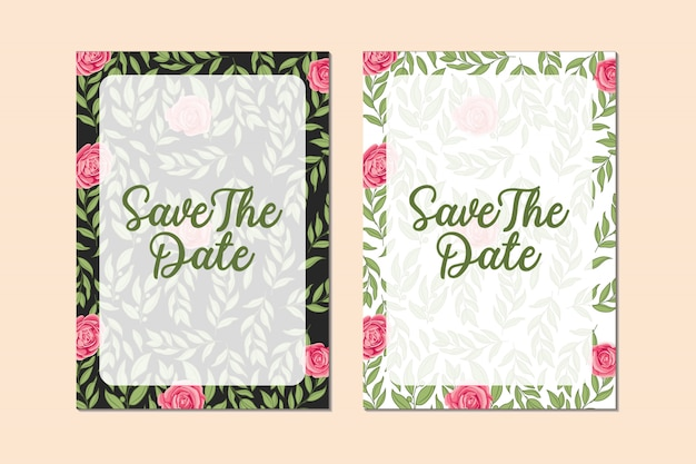 Bundle of beautiful wedding invitation card with roses flower and leaves frame design template