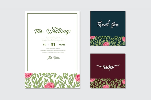 Bundle of beautiful wedding invitation card with roses flower and leaves frame