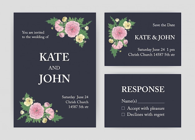 Bundle of beautiful wedding invitation, save the date and response card templates decorated with pink and yellow ranunculus flowers and leaves on black background.