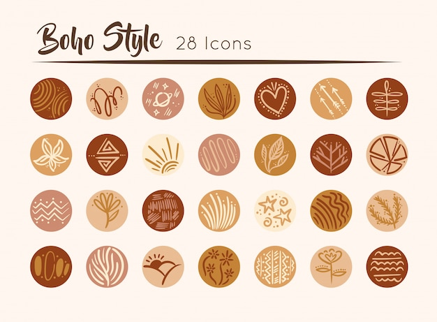 Bundle of boho set icons  illustration