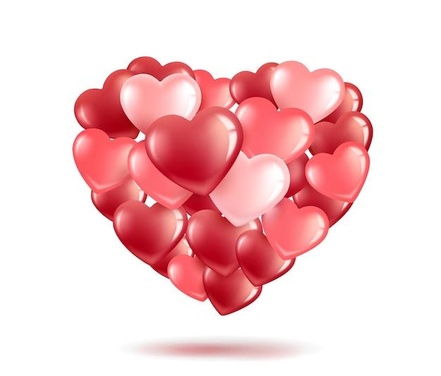 Пачка, букет в форме сердца из розовых и красных шаров-сердечек. день святого валентина