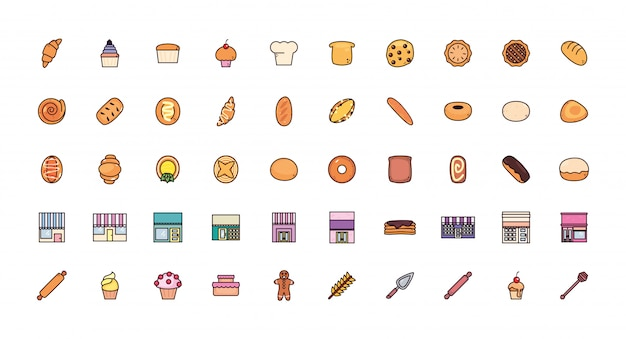 Bundle bread bakery with set icons