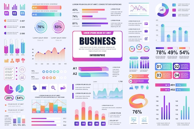 Bundle business and finance infographic ui, ux, kit elements