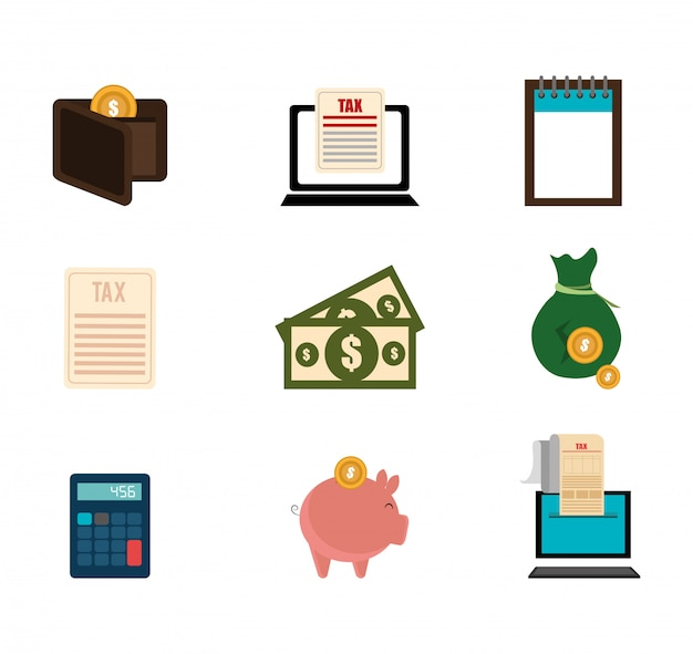 Bundle of business set icons