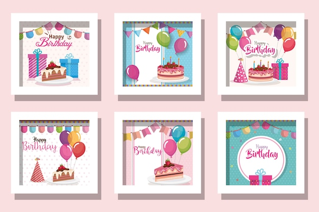 Bundle of cards happy birthday with delicious food and decoration