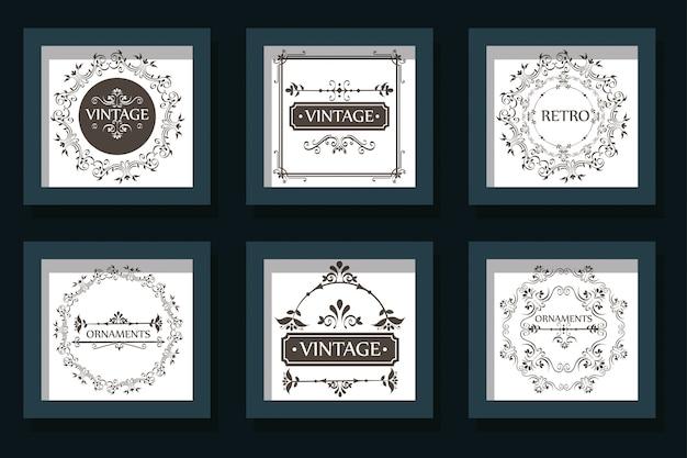Bundle cards of vintage ornamental frames