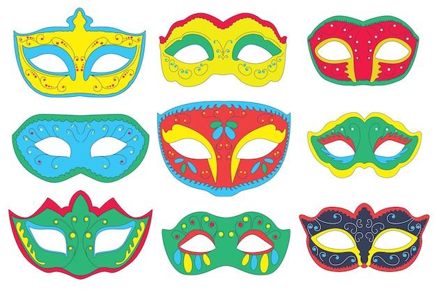 번들 카니발 마스크 밝고 다채로운 안면 마스크