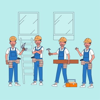 Pacchetto di personaggi persone occupate da falegname con attrezzi. illustrazione piatta