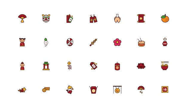 Bundle of chinesse new year icon set