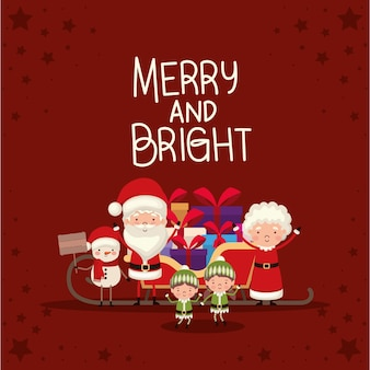 Bundle of christmas characters and merry and bright lettering on red background.