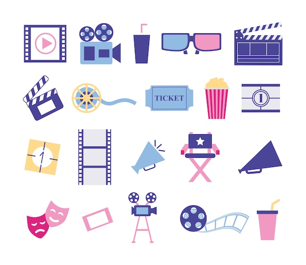 Bundle of cinema entertainment set icons