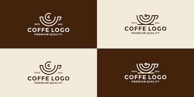 Связка кофейной чашки с беспроводным логотипом в стиле ретро