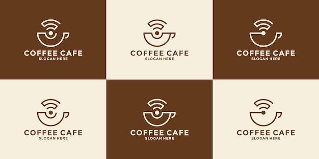 Пакет кофе с символом дизайна логотипа беспроводной сети