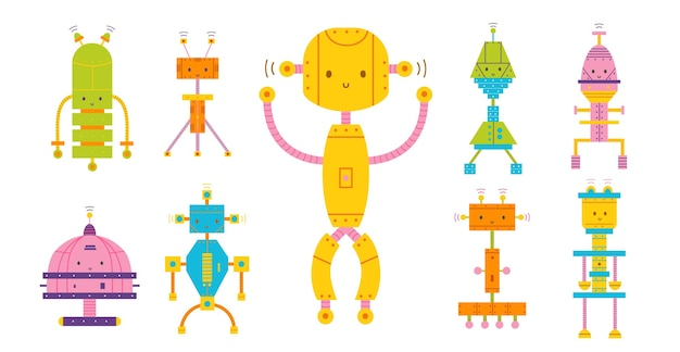 Bundle of colored adorable happy robots isolated on white