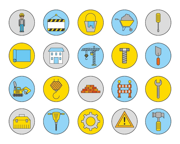 Bundle of construction set icons