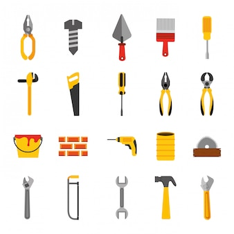 Bundle of construction tools icons
