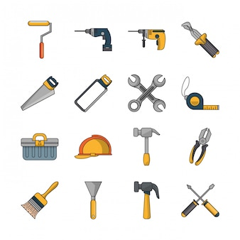 Bundle of construction tools set icons